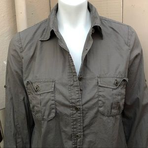 J.Crew Army Green Cotton Button Down Long Sleeve S